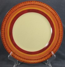 Pier 1 Lugano Dinner Plate Stoneware Orange Band Geometric Design - $14.95