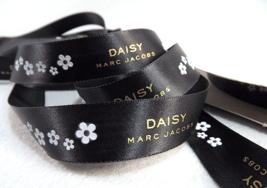 Marc Jacobs DAISY Ribbon Black Satin Shiny Finish Gold Letters 6 yds x 3... - $0.98
