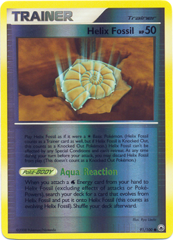Helix Fossil 91/100 Reverse Holo Common Trainer Majestic Dawn Pokemon Card image 3