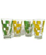Set of 4 Retro High Ball Tumbler Glasses Chess Pieces Yellow Green Squares - $44.54