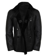 HANDMADE MEN BLACK LEATHER JACKET WITH FLEECE, MENS SHERLING LEATHER JAC... - $224.99