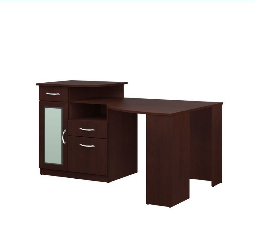 Cherry corner computer desk with hutch office storage drawer file cabinet shelf desks home - Corner desks with shelves ...