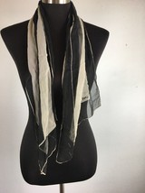 Vintage Vera Neumann Scarf Black Ivory Striped Shear Rectangle Sash Tie - $17.28