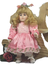Doll Betty Jane Carter Porcelain Stuffed Blond Soft Plush Body Curly Blond Hair - $39.59