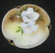 "Hand Painted Nippon Dish With Gold Trim And Three Handles 6"" - $9.78"