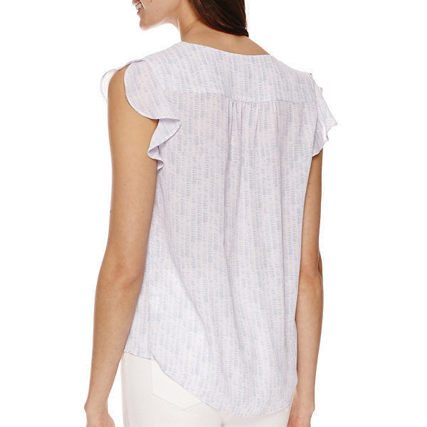 a.n.a Flutter-Sleeve Popover Shirt- Petite Size PXL New Msrp $36.00