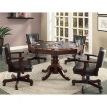 5 Piece Poker Table Set Espresso Finish Convertible Game Table plus 4 Ar... - $3,623.28