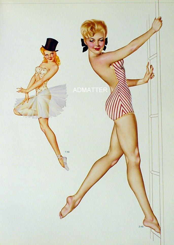 Vargas 1946 Sexy Pin-up Girl 9X12 Vintage 2-sided Print