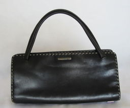 $1300 AUTH Gucci black leather handbag w/ contrast stitching - $194.95