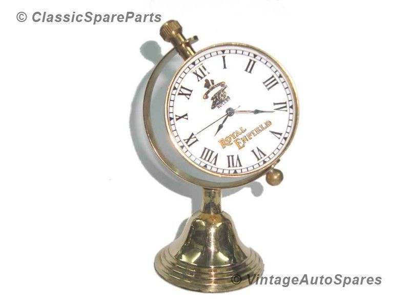 Brass Globe Shaped Desk Clock+Enfield Cannon Crown Logo @ Vintage Auto Spares