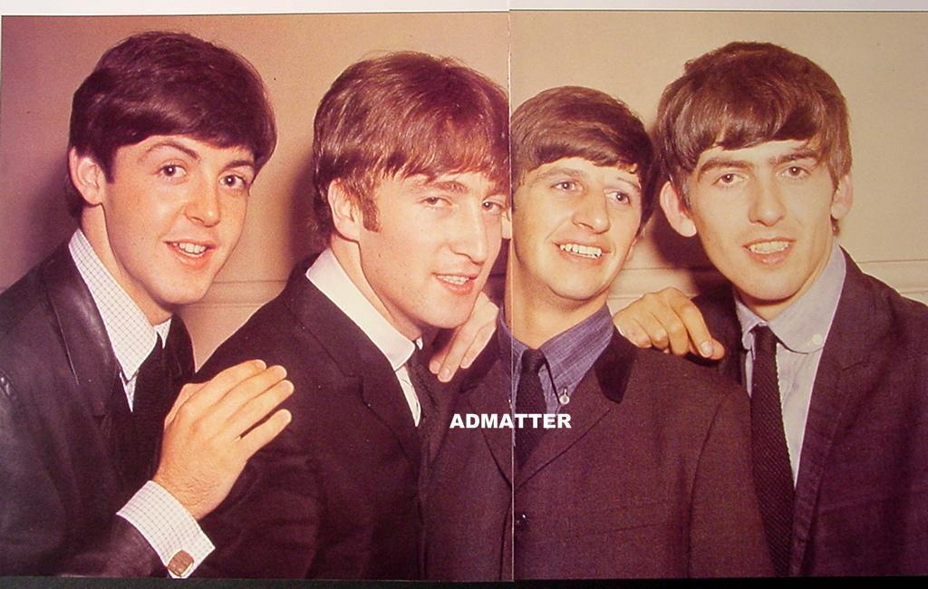 Vintage Beatles Pin-up Poster John Lennon Paul McCartney George Harrison Ringo