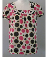 Style & Co Polka Dot Lds  Smock Top With Beadin... - $16.00