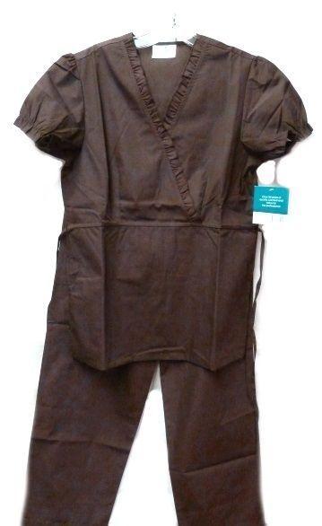 Brown Scrub Set XL V Neck Top Drawstring Pants Women's Medical Uniforms #616/701 image 2