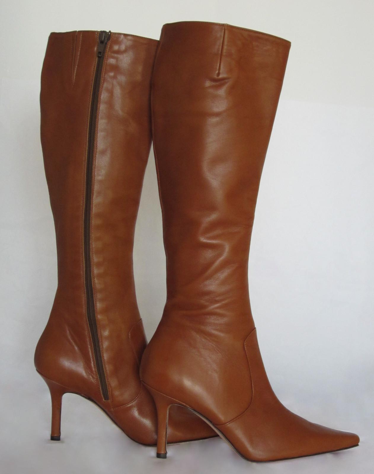 $440 AUTH Isaac Mizrahi cognac leather knee-high boots 6.0 NWOB - $74.95