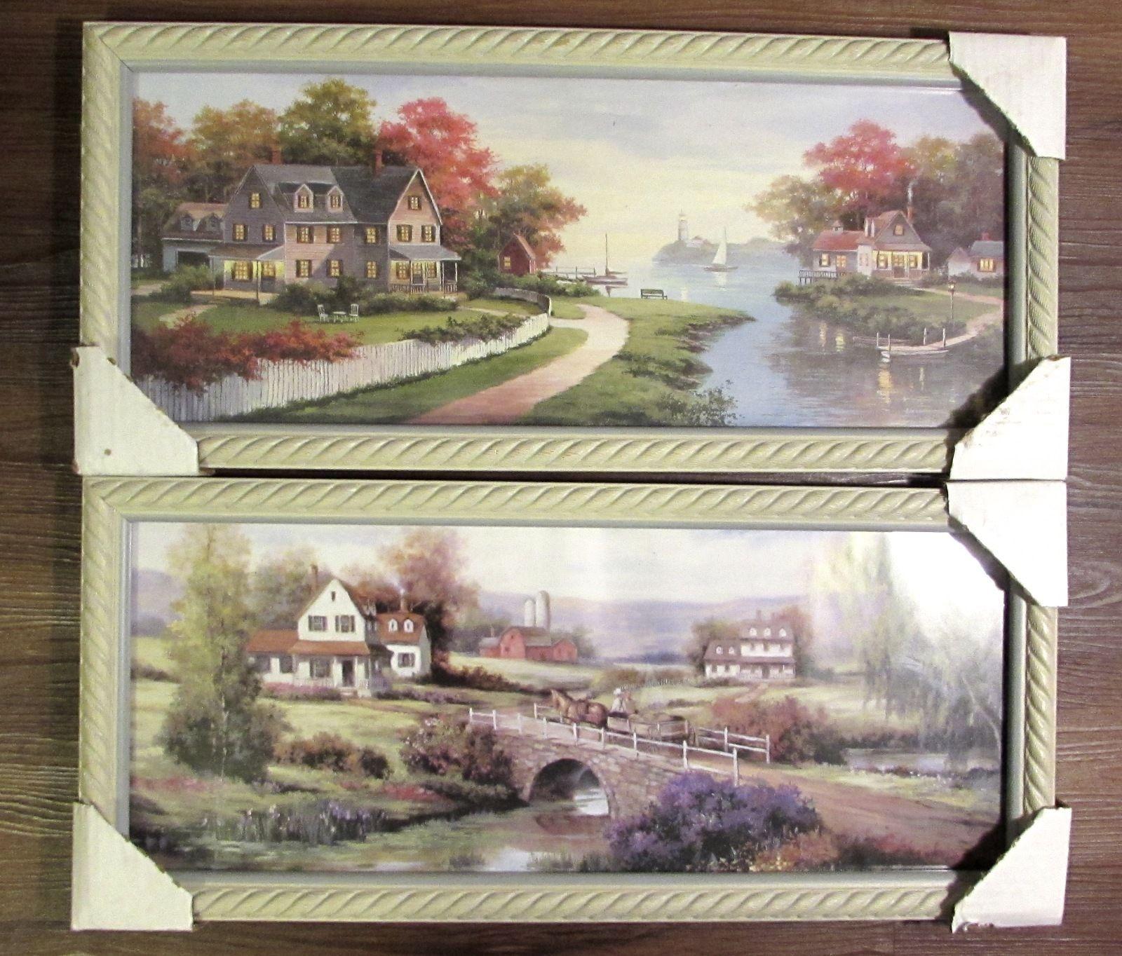 Set of 2 beautiful Wall Art Prints Country Bridge & Lakeside Multi-Color
