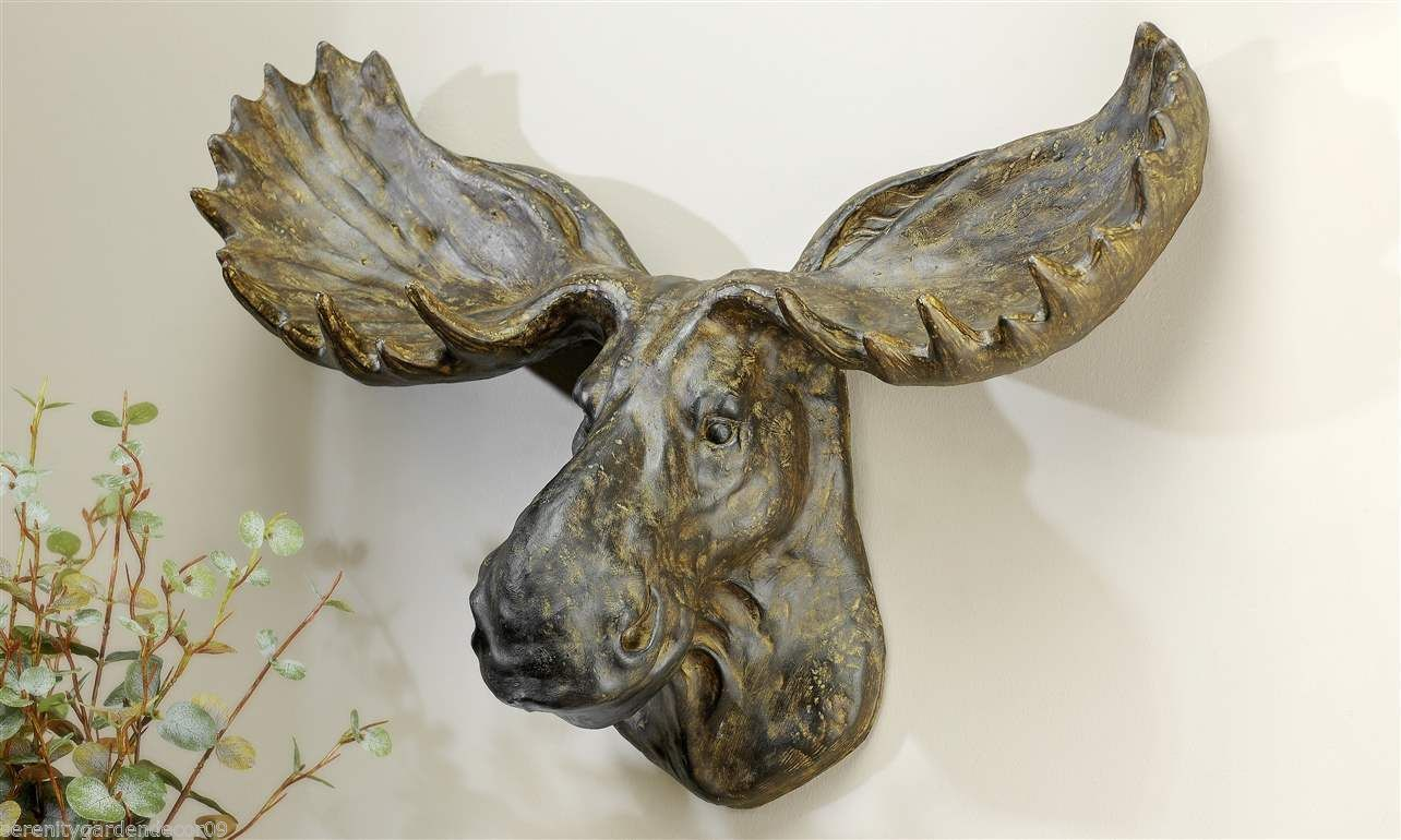 """22"""" W Moose Head Wall Decor Resin Weathered Brown Large Hunting Man Cave Cottage"""