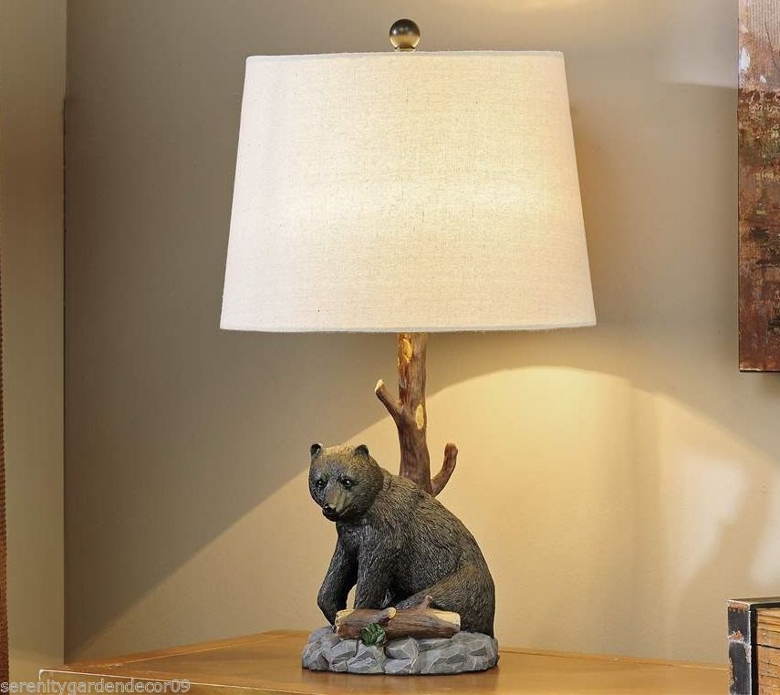 """25"""" Black Bear & Tree Branch Table Lamp w Shade Wild Life Forest Nature Cottage"""
