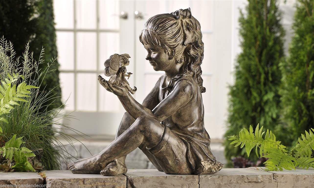 "large garden statue 17"" x 17"" sitting girl holding fairy polystone"