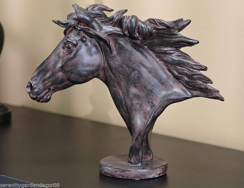 Majestic Horse Head on Pedestal Table Decor Brown Color