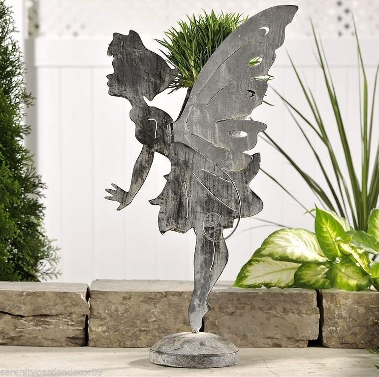 "Large 28"" Standing Garden Fairy Planter 2 Dimensional Antique Grey Iron Material"