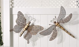 "Set of 2 -  29"" Dragonfly & 20"" Butterfly Wall Plaques Metal & Wood Copper Color"