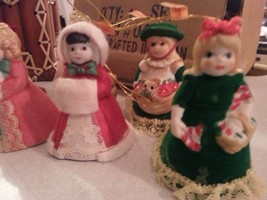 6 PORCELAIN LADY BELL ORNAMENTS WITH VELVET AND LACE DRESSES - $14.84