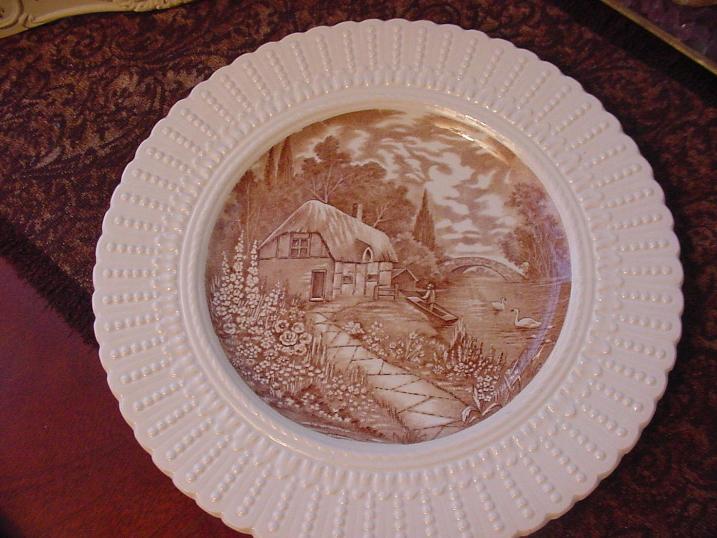 "Royal Cauldon England Thames Boat House Plate, 9 3/4"", brown/ivory"