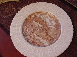 "Royal Cauldon England Thames Boat House Plate, 9 3/4"", brown/ivory - $12.00"