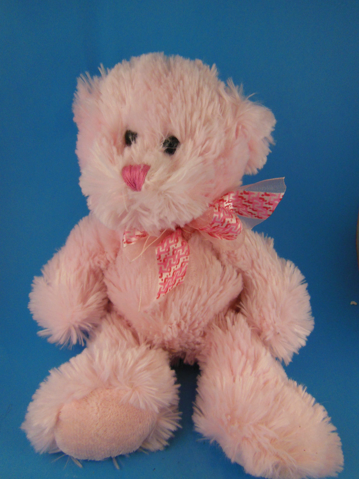 "Primary image for Pink Ribbon Breast Cancer Teddy Bear Shaggy Plush Very Soft & Cuddly 10"" RARE"