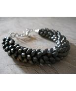 "Kumihimo ""Dragon Scale"" Bracelet, Matte Metalli... - $29.00"