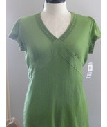 Style & Co Avacado Green Gauze V Neck Top Size1... - $17.00