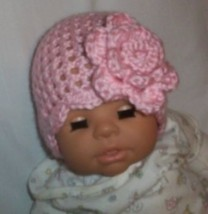 Hand Crochet Baby Pink Flowered Hat Newborn Ready To Ship - $13.75