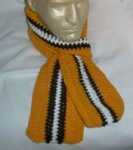 Hand Crochet ~ Steelers Scarf Black N Gold 5 X  58 long Unisex Pittsburgh - $13.75