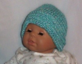 Hand Crochet Baby Mint Cuffed Beanie Hat Newborn 6 months Photo Prop - $11.00