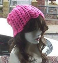 Hand Crochet Ladies Skull Cap Hot Pink Slouchy Flower Petal Beanie Chemo... - $19.25
