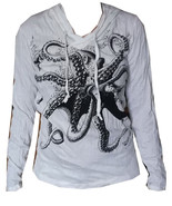 Lady Hoodie Shirt Octopus Sea Nature Ocean Hobo Boho Hippie Cotton Sure ... - $22.76