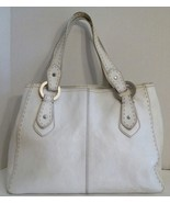 FOSSIL Large White Leather Satchel Handbag Purse - $15.83