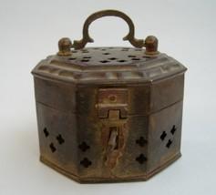 Brass Incense Burner Vintage Trinket Box Potpourri Holder Handle India - $15.00