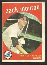 New York Yankees Zack Monroe 1959 Topps Baseball Card # 108 vg - $2.50
