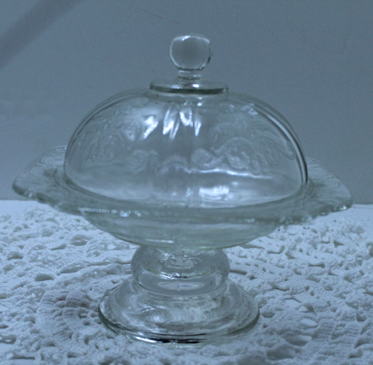 Vintage Crystal Madrid Recollection Indiana Glass Pedestal Domed Butter Dish