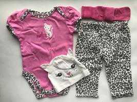 Baby Girl's Size 6M 3-6 Months 3 Piece PLACE Pink Kitten Top, Leggings, Cap + - $27.00