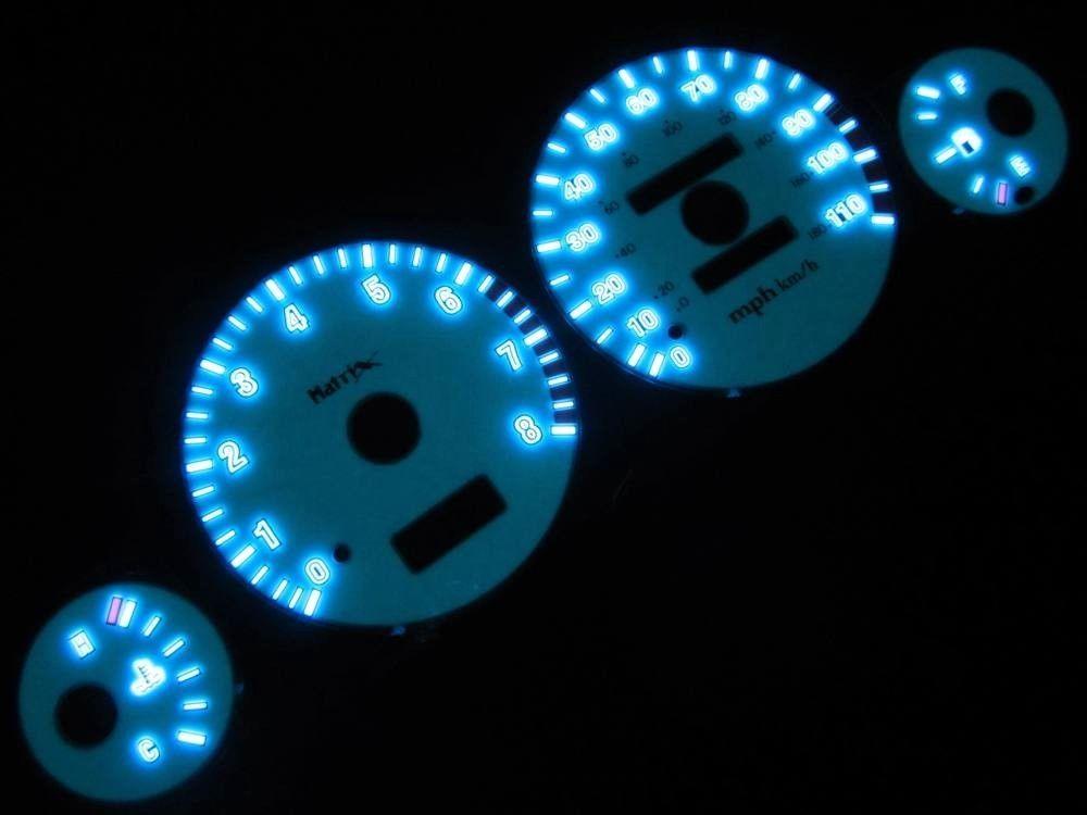 White Face Reverse Indiglo Glow Gauge MPH Kit For 97-00 Dakota Durango w//Tach