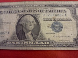 1957- 1 Dollar Silver Certificate, Series A with Blue Seal - $13.37