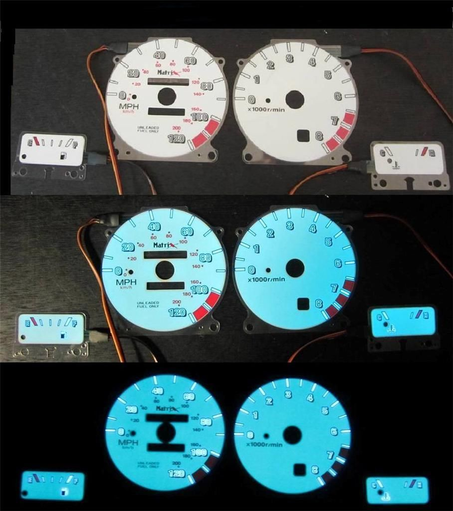 93 94 95 96 97 Nissan Altima w/rpm White Face Glow Gauges for Instrument cluster - $39.59