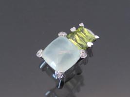 Vintage 10K Solid White Gold Natural Moonstone, Peridot & Diamond Charm ... - $255.00