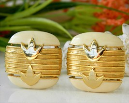 Vintage Helena Rubinstein Earrings Paris Enamel Gold 1956 - $27.95