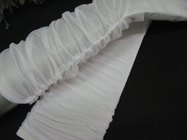 ELBOW WHITE BRIDAL GLOVES,SHEER ORGANZA WITH PLEAT WEDDING WOMAN ACCESSO... - $7.50