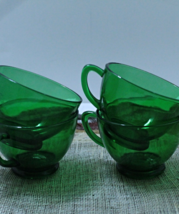 Vintage set of Four Forest Green Glass Punch Cu... - $10.99