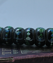 Set of six Tole Painted Black Lacquer Wood Napkin Rings - $7.50