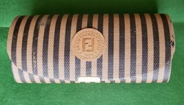 FENDI Italy Striped Brown Leather Eyeglass Case snap closure - $18.99